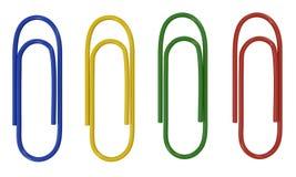 Kleuren plastic paperclippen Stock Afbeelding