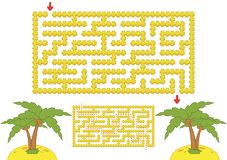 Kleuren rechthoekig labyrint Geel strand met palmen in beeldverhaalstijl Spel voor jonge geitjes Raadsel voor kinderen Labyrintra stock illustratie