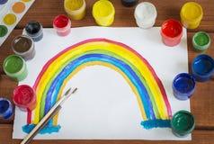 Kleuren van de cijfer de kleurrijke regenboog op een wit blad Stock Afbeelding