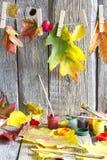 Kleuren van de herfstsamenvatting met verfborstel en bladeren Stock Fotografie