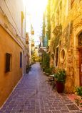 Kleuren van de reeks levendige straten van Griekenland van oude Chania-stad, het eiland van Kreta Royalty-vrije Stock Foto's