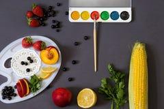 Kleuren van de zomerconcept Vruchten en waterverfpalet op donkere achtergrond Stock Afbeeldingen