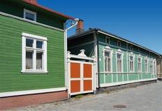 Kleuren van Houten Finland Stock Fotografie