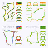 Kleuren van Mozambique, Niger, Namibië en Mauretanië Stock Fotografie