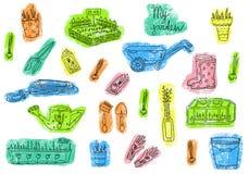 Kleuren vastgestelde illustraties van de uitrusting van het tuinhulpmiddel Getrokken hand vector illustratie