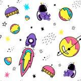 Kleuren vector naadloos patroon met ruimteelementen De stijl van de krabbel Planeten, meteorieten, astronauten, sterren, kometen, vector illustratie