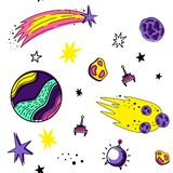 Kleuren vector naadloos patroon met ruimteelementen De stijl van de krabbel Planeten, meteorieten, sterren, kometen, raketten, sa vector illustratie
