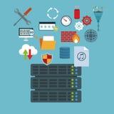 Kleurenachtergrond met de router en de technologieelementen van de rekserver in pictogrammen het drijven royalty-vrije illustratie