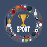 Kleurenachtergrond met gouden trofeekop in centrum met cirkelgrens rond met de sport van pictogrammenelementen royalty-vrije illustratie