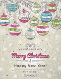 Kleurenachtergrond met Kerstmisballen, vector Royalty-vrije Stock Afbeeldingen