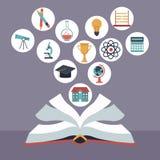 Kleurenachtergrond met open boek met de pictogrammen van de elementenschool het drijven Royalty-vrije Stock Fotografie