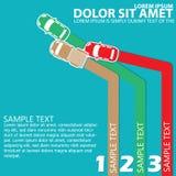 Kleurenauto drie auto'sa botsing met ruimte voor ordetheorie Stock Fotografie