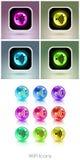Kleurenballen met app van het wifisymbool pictogram Royalty-vrije Stock Fotografie