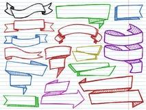 Kleurenbanners op witte voorbeeldenboekachtergrond vector illustratie