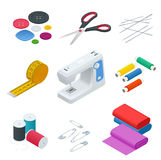 Kleurenbanners van voorwerpen voor het naaien, ambacht Naaiende hulpmiddelen en naaiende uitrusting, naaiend materiaal, naald, na stock illustratie