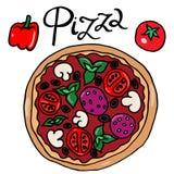 Kleurenbeeld van vector uit de vrije hand van de pizza de eenvoudige tekening stock illustratie