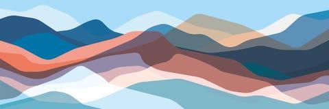 Kleurenbergen, doorzichtige golven, abstracte glasvormen, moderne achtergrond, vectorontwerpillustratie voor u project stock illustratie