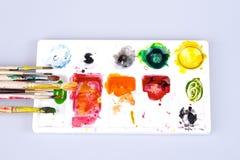 Kleurenborstel Stock Afbeeldingen
