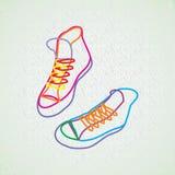 Kleurencontour van tennisschoenen Stock Foto's