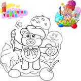 Kleurend boek, beeldverhaal leuke teddybeer met een leeswijzer stock afbeelding