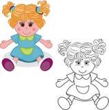 Kleurend boek Het stuk speelgoed van de meisjespop Stock Fotografie