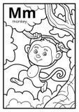 Kleurend boek, kleurloos alfabet Brief M, aap vector illustratie