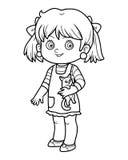 Kleurend boek, meisje met een kat vector illustratie