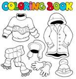 Kleurend boek met de winterkleren Stock Afbeeldingen