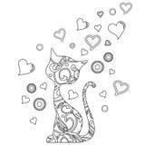 Kleurend boek met kat en harten Stock Fotografie