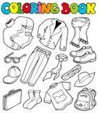 Kleurend boek met kleding 1 Stock Foto's