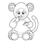 Kleurend boek met leuke baby gekleed als aap Stock Afbeelding