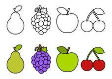 Kleurend boek met vruchten, die voor jonge geitjes kleuren vector illustratie