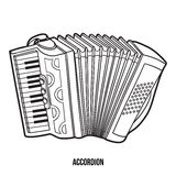 Kleurend boek: muzikale instrumenten (harmonika) Stock Afbeeldingen