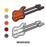 Kleurend boek: muzikale instrumenten (twee-hals gitaar Stock Afbeelding