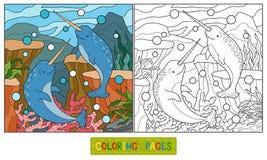 Kleurend boek (narwal) royalty-vrije illustratie