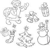 Kleurend Boek Santa Claus en Kerstmissymbolen Royalty-vrije Stock Foto's