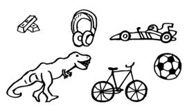 Kleurend boek - tekeningen over hobbys met goudstaven en een snelle auto voor jonge geitjes ook beschikbaar als vectortekening vector illustratie