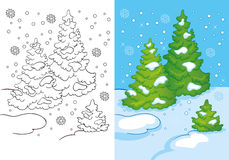 Kleurend Boek van Drie Bomen in de Sneeuw Royalty-vrije Stock Afbeelding