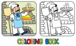 Kleurend boek van grappige kok of chef-kok met pizza stock illustratie