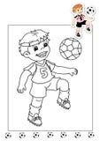 Kleurend boek van werkzaamheden 29 - voetballer Stock Afbeeldingen