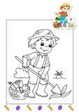 Kleurend boek van werkzaamheden 33 - landbouwer Stock Foto's
