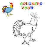 Kleurend boek Vectorillustratie van een haan Stock Foto