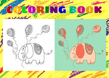 Kleurend boek voor jonge geitjes Schetsmatig weinig roze olifant Stock Afbeelding