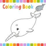 Kleurend boek voor jonge geitjes Vrolijk karakter Vector illustratie Leuke beeldverhaalstijl Fantasiepagina voor kinderen Zwarte  stock illustratie