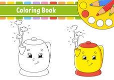 Kleurend boek voor jonge geitjes Vrolijk karakter Vector illustratie Leuke beeldverhaalstijl Getrokken hand Fantasiepagina voor k stock illustratie