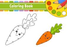 Kleurend boek voor jonge geitjes Vrolijk karakter Vector illustratie Leuke beeldverhaalstijl Getrokken hand Fantasiepagina voor k royalty-vrije illustratie