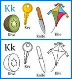 Kleurend Boek voor Kinderen - Alfabet K vector illustratie