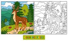 Kleurend boek voor kinderen (herten en achtergrond) vector illustratie
