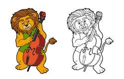Kleurend boek voor kinderen: leeuw en cello stock illustratie