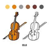 Kleurend boek voor kinderen: muzikale instrumenten (cello) vector illustratie
